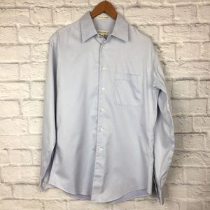 Pronto Uomo 100% Cotton Pique Non- Iron Blue Shirt